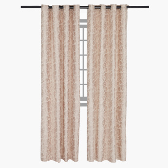 Oxford Printed and Lined Eyelet Curtain Pair - 140x240 cms