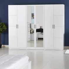 Snowy 6-Door Wardrobe with 2 Mirrors