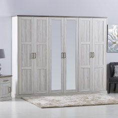 Angelic 6-Door Wardrobe with Mirror