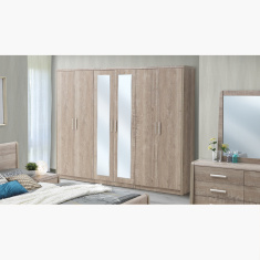 Curvy 6-Door Wardrobe with Mirrors
