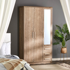 Curvy 3-Door Wardrobe with Mirror