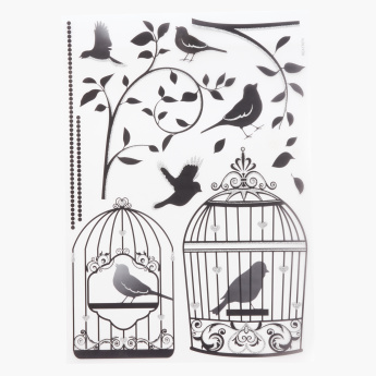 Glitter Bird Cage Room Decor Sticker