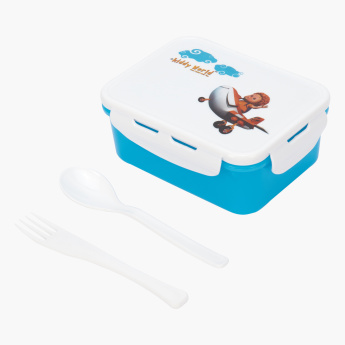 Varmora Printed Lunchbox with Fork and Spoon