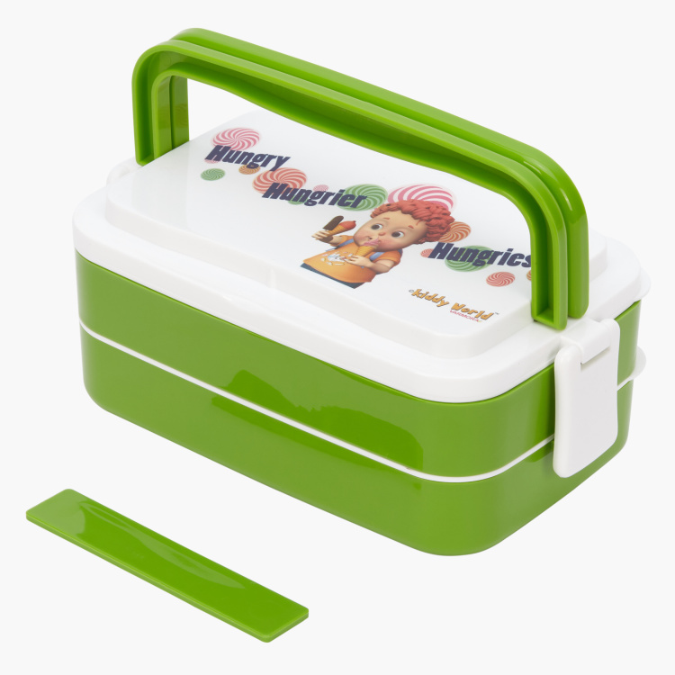 Varmora Printed 2-Tier Lunch Box with Fork and Spoon