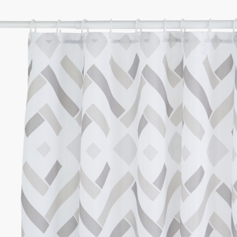 Cyrus Printed Shower Curtain with 12 Hooks - 180x180 cms