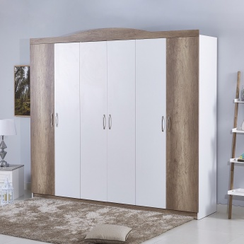 Camron 6-Door Textured Wooden Wardrobe