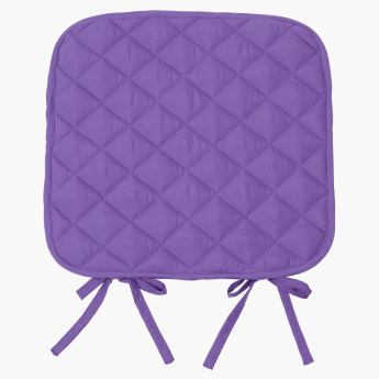 Uni Diamond Quilted Chair Pad with Tie Ups - 40x40 cms