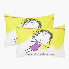 Happiness Life is Beautiful 2-Piece Printed Pillow Cover - 50x75 cms