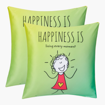 Happiness Printed Filled Cushion - 40x40 cms