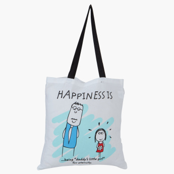 Happiness Printed Handbag with Twin Handles