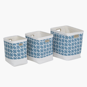 Hellen Printed Storage Bin with Cutout Handles - Set of 3