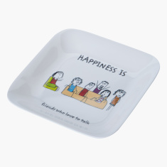Happiness Printed Square Plate