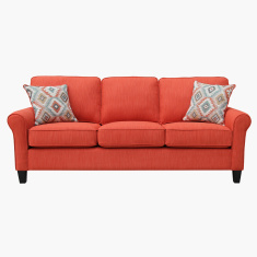 Angelic Textured 3-Seater Sofa with Cushions