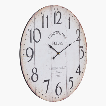 Printed Art Round Wall Clock with Flat Numbers