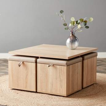 Mason Coffee Table With 4 Storage Stools Beige 2 Years Against