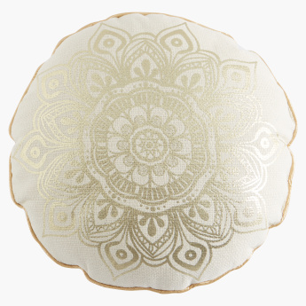 Bennett Foil Printed Round Shaped Filled Cushion - 40 cms