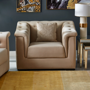 Cinderella 1-Seater Tufted Armchair with Scatter Cushion