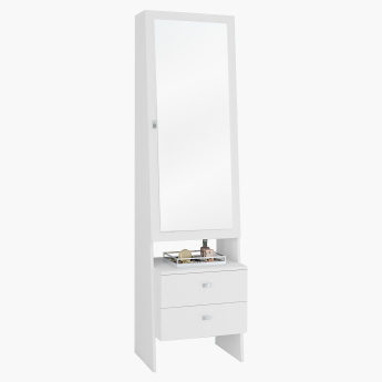 Snowy Floor Standing Mirror with Jewellery Cabinet - 48x36x175 cms