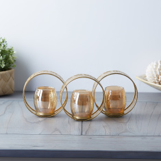 Triple Circle Metal Candle Holder with 3-Piece Glass Cups