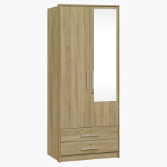 Dazzle 2-Doors and 2-Drawers Wardrobe with Mirror and Locks