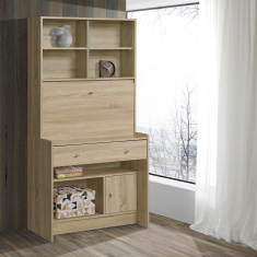 Gleam Study Desk with 1-Door and 1-Drawer Hutch
