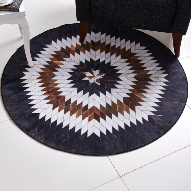 Faux Print Leather Patch Rug - 120 cms
