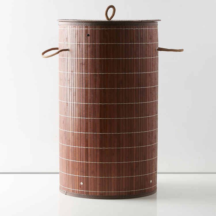 Knock Down Circular Bamboo Laundry Basket