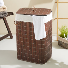 Knock Down Rectangular Bamboo Laundry Basket