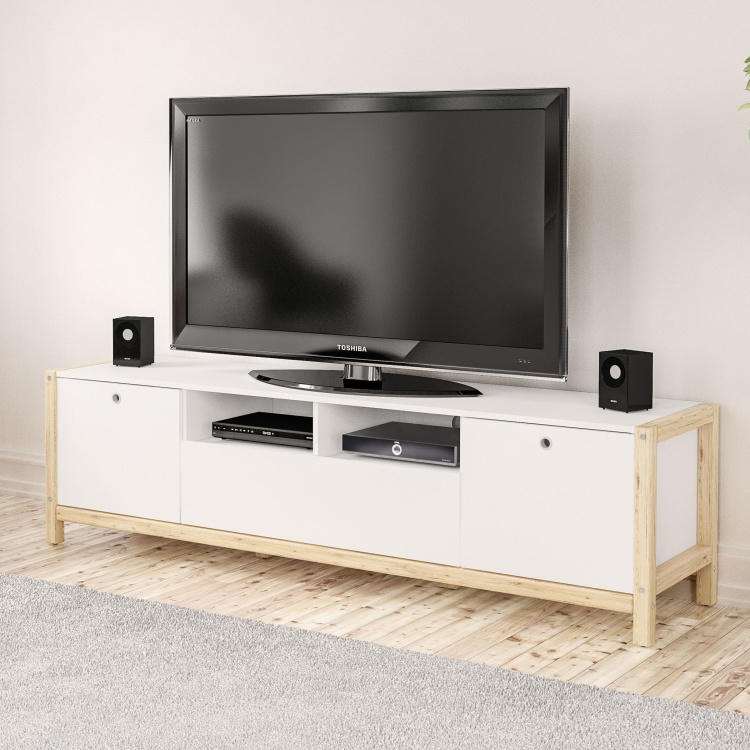Adler 2-Door Low TV Unit with Drawer for TVs up to 70 inches