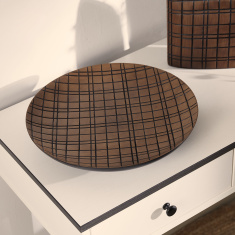 Oak Checked Circular Polyresin Wall Decor