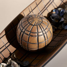 Oak Checked Polyresin Decorative Ball