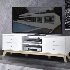 Sweden Low TV Unit with 4-Drawers for TVs up to 70 inches
