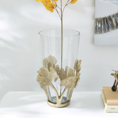 Mia Metal Ginko Leaf Glass Jar Vase