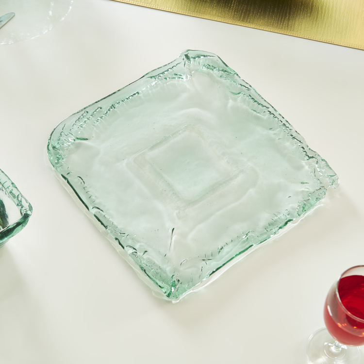 Verdant Recycled Square Glass Serving Platter - 30x30 cms