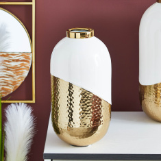 Amaya Dual Toned Hammered Metal Bottle Vase