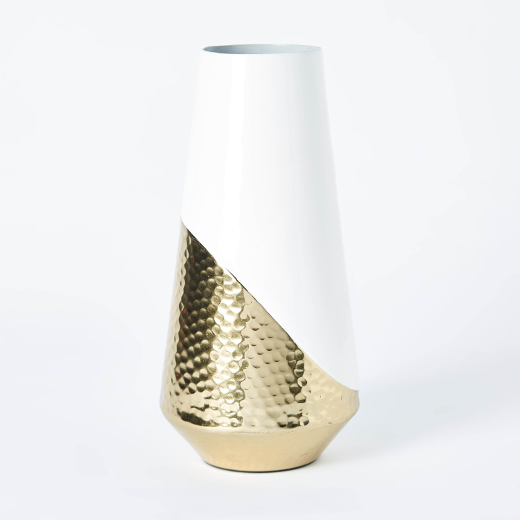 Amaya Dual Toned Hammered Metal Cylindrical Vase