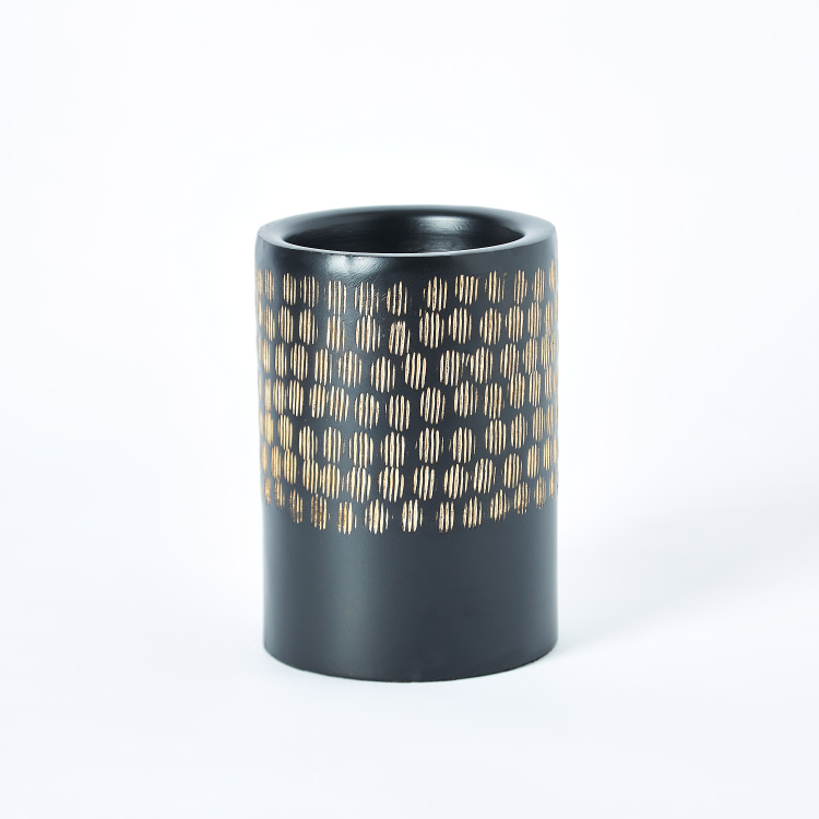 Amaya Metal Gold Hammered Folk Cylindrical Small Candleholder
