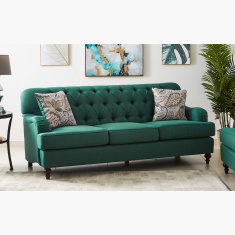 Dorothy 3-Seater Fabric Sofa with 2 Cushions