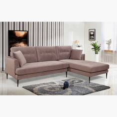 Topaz Right Velvet Corner Sofa with 2 Cushions