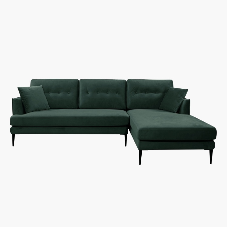 Topaz Right Corner Fabric Sofa with 2 Cushions