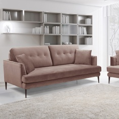Topaz 3-Seater Velvet Sofa with 2 Cushions
