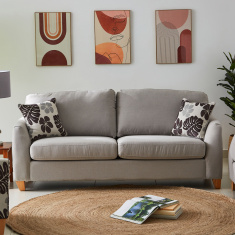 Debora 3-Seater Fabric Sofa with 2 Cushions