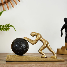 Quartz Metal Push the Ball Figurine
