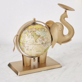 Ibiza Metal Elephant Tealight Candle Holder with Globe
