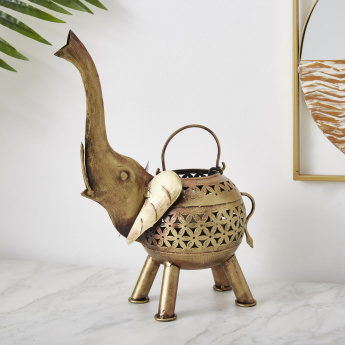 Ibiza Metal Elephant Daisy Cutwork Tealight Candle Holder