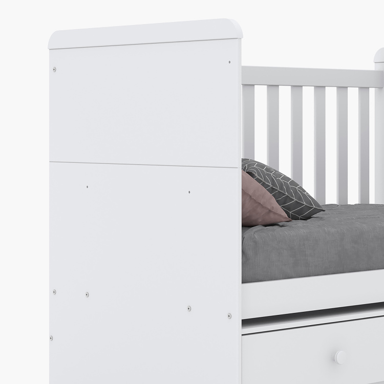 Vanilla Single Convertible Baby Crib with 2 Drawers - 70x130 cms