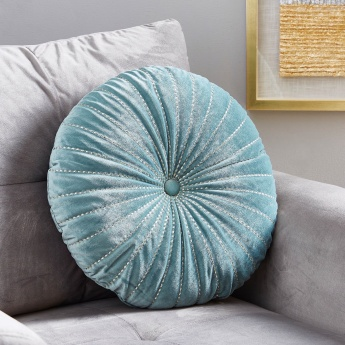 Serene Velvet Embroidered Round Filled Cushion - 45 cms
