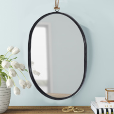 Amore Oval Metal Mirror with Hanger - 25x1x18 cms